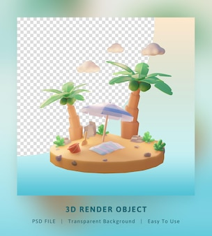 Modèle d'illustration d'été bonjour de rendu 3d avec cocotier et plage de parasol