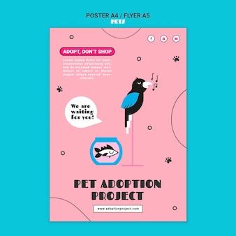 Modèle d'impression d'adoption d'animaux de compagnie