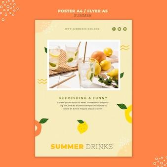 Modèle d'impression de boissons d'été