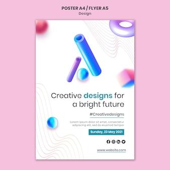 Modèle D'impression De Conceptions 3d Créatives Psd gratuit