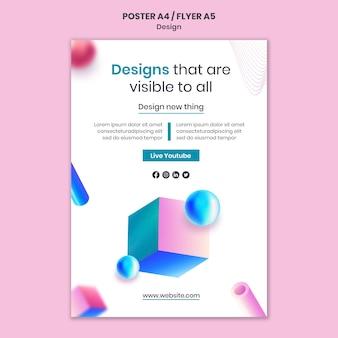 Modèle d'impression de conceptions 3d créatives