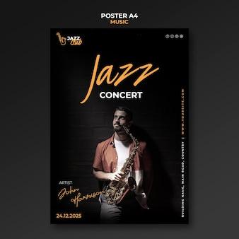 Modèle d'impression de concert de jazz