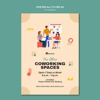 Modèle d'impression de coworking créatif