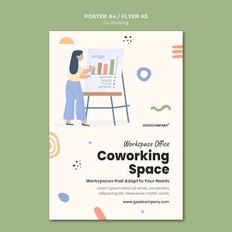 Modèle d'impression de coworking illustré