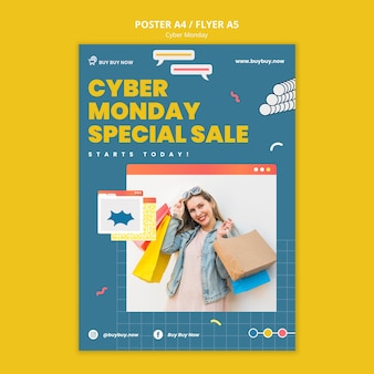 Modèle d'impression créatif des ventes du cyber lundi