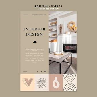 Modèle d'impression de design d'intérieur