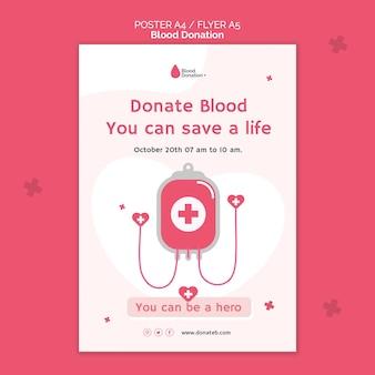 Modèle d'impression de don de sang illustré