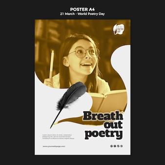 Modèle d'impression d'événement de la journée mondiale de la poésie