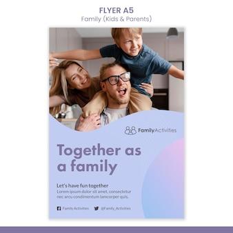 Modèle d'impression de famille avec photo