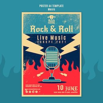 Modèle d'impression de festival de musique rock