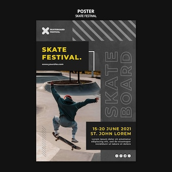 Modèle d'impression de festival de skate