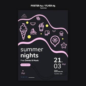 Modèle d'impression de flyer de nuits d'été