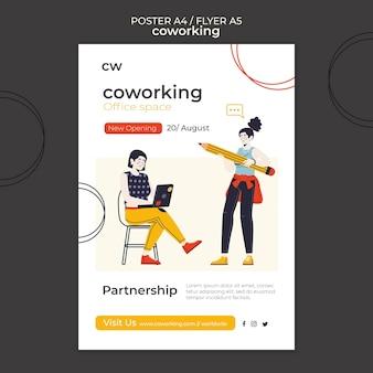 Modèle d'impression horizontale de coworking