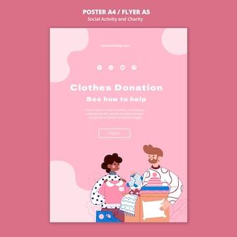 Modèle d'impression illustré d'activité sociale et de charité