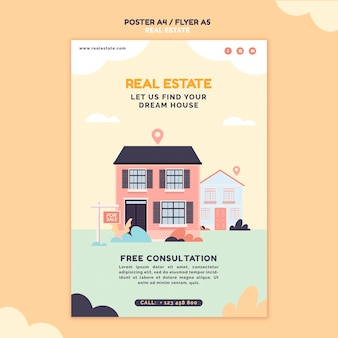 Modèle d'impression immobilier illustré