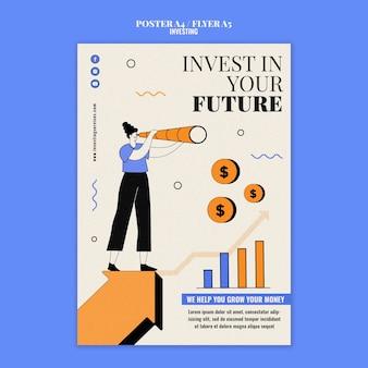 Modèle D'impression D'investissement Illustré PSD Premium