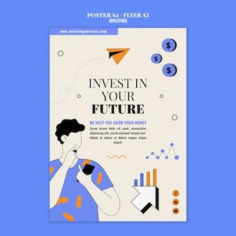 Modèle d'impression d'investissement illustré