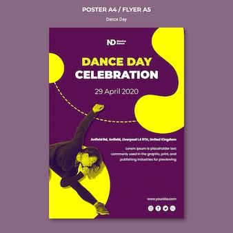 Modèle d'impression de jour de danse bicolore