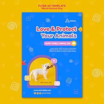 Modèle d'impression de la journée mondiale des animaux