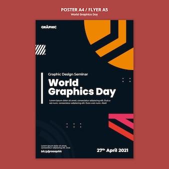 Modèle d'impression de la journée mondiale du graphisme