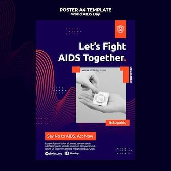 Modèle d'impression de la journée mondiale du sida avec des détails orange