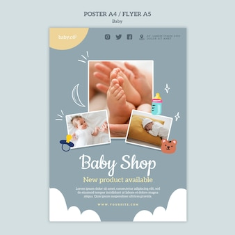 Modèle d'impression de magasin de bébé