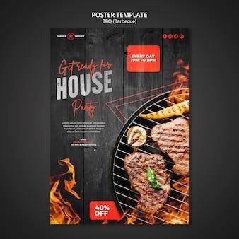 Modèle d'impression de maison de barbecue