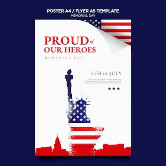 Modèle d'impression memorial day avec drapeau
