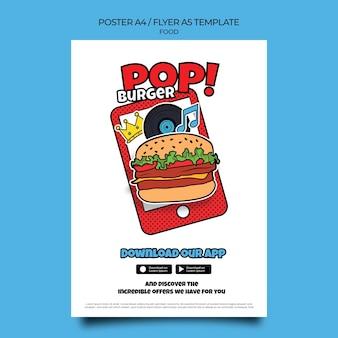 Modèle d'impression de nourriture pop art