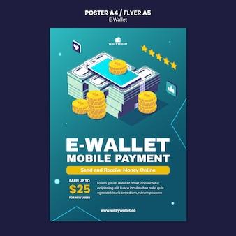 Modèle d'impression de portefeuille électronique moderne