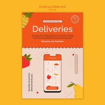 Modèle d'impression de service de livraison d'épicerie