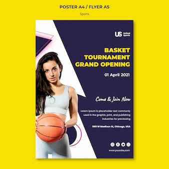 Modèle d'impression de tournoi de basket-ball