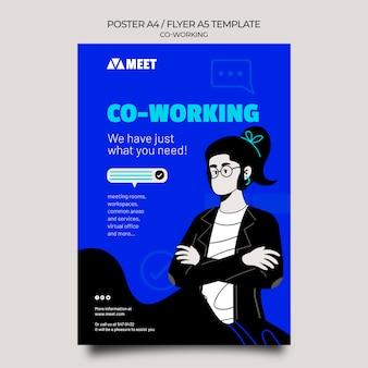 Modèle d'impression verticale de coworking