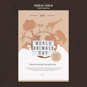 Modèle d'impression verticale de la journée mondiale des animaux