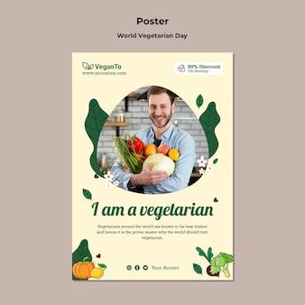 Modèle d'impression verticale de la journée mondiale des végétariens