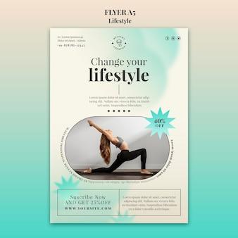 Modèle d'impression verticale de yoga