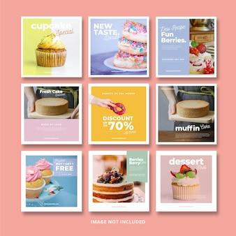 Modèle instagram de bannière de médias sociaux de gâteaux et de nourriture sucrée