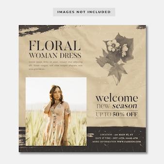 Modèle instagram de bannière de médias sociaux de vente flash de mode
