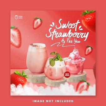 Modèle instagram de bannière de publication de médias sociaux de menu de boisson aux fraises pour la promotion