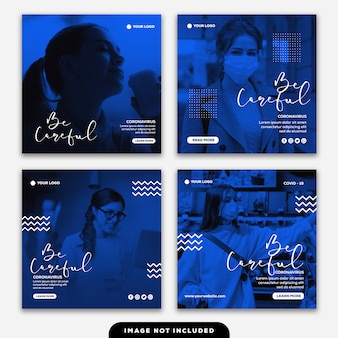 Modèle instagram collection de bannière de publication soyez prudent fille contre le coronavirus