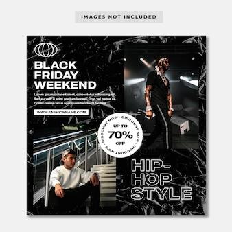 Modèle instagram de médias sociaux de mode hip-hop vendredi noir