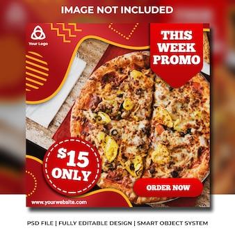 Modèle instagram de pizza et de restauration rapide dans les médias sociaux