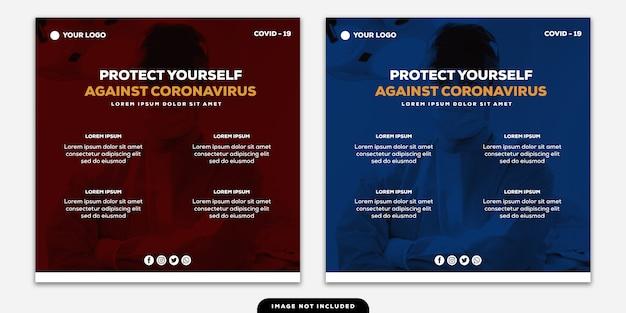 Modèle instagram post banner protégez-vous contre les conseils sur les coronavirus duotone