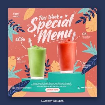 Modèle instagram de promotion de menu de boissons sur les médias sociaux