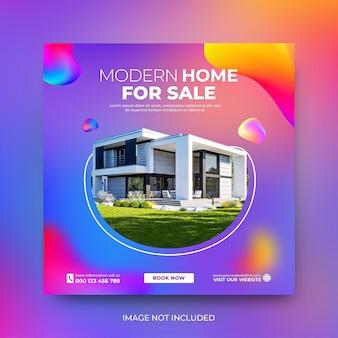 Modèle d'instagram de promotion de publication sur les médias sociaux pour la vente de biens immobiliers psd