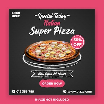 Modèle instagram de promotion de super pizza italienne