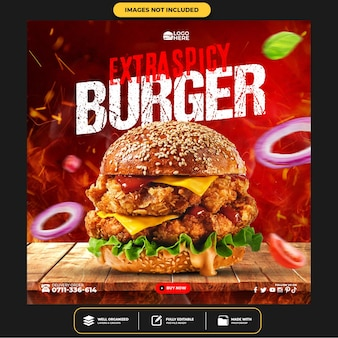 Modèle instagram de publication de délicieux hamburgers sur les médias sociaux