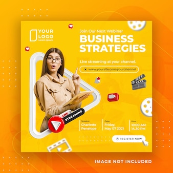 Modèle instagram de publication de médias sociaux d'atelier d'affaires de streaming en direct