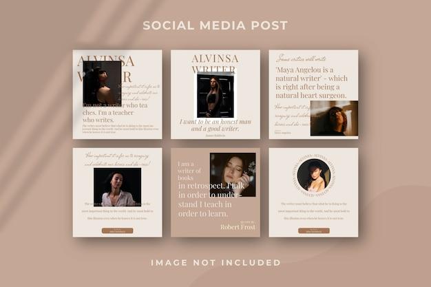 Modèle instagram de publication de médias sociaux carrés
