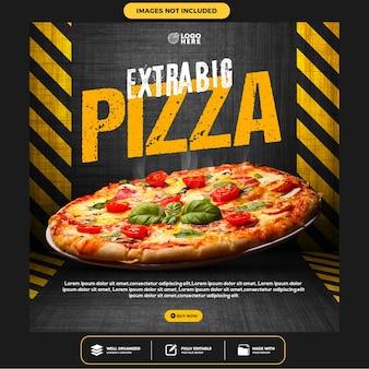 Modèle instagram de publication sur les médias sociaux de délicieuses pizzas